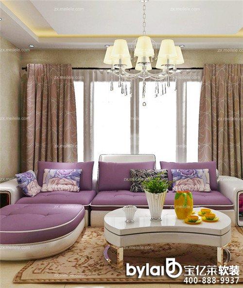 2015家庭装修客厅窗帘效果图案例赏析